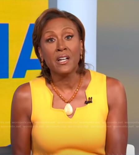 Robin's yellow scalloped neckline dress on Good Morning America