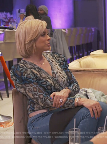 Gizelle's green lace embroidered jacket on The Real Housewives of Potomac