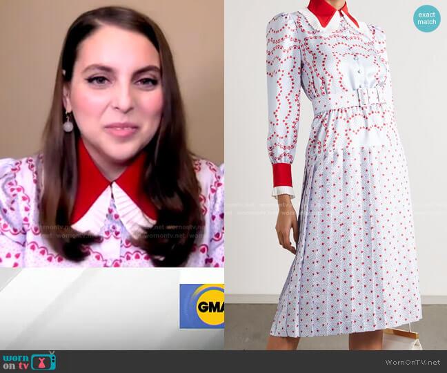 Belted Pleated Printed Silk-Twill Midi Dress by Rodarte worn by Beanie Feldstein on GMA