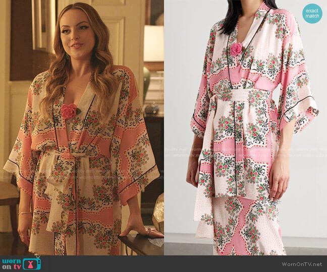 Belted Printed Silk crepe de chine Robe by Rodarte worn by Fallon Carrington (Elizabeth Gillies) on Dynasty