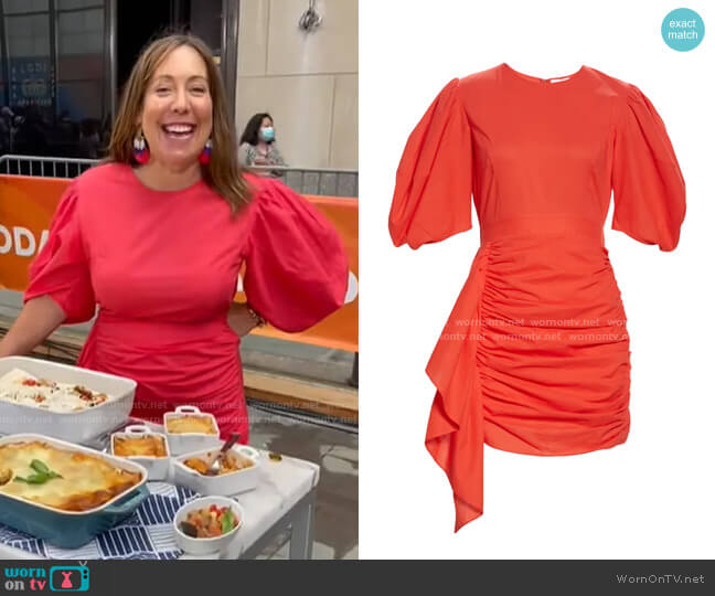 Pia Side Ruched Dress by Rhode worn by Elizabeth Gourlay Heiskell on Today