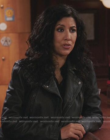 Rosa's black leather moto jacket on Brooklyn Nine-Nine