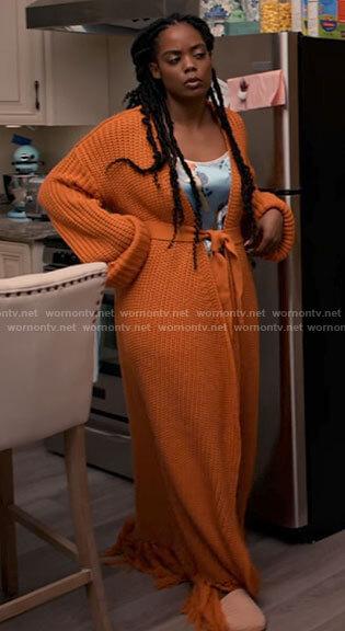 Sabrina's long orange cardigan on Tyler Perrys Sistas