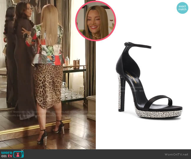 Hall Embellished Ankle High Heels by Saint Laurent worn by Dominique Deveraux (Michael Michele) on Dynasty