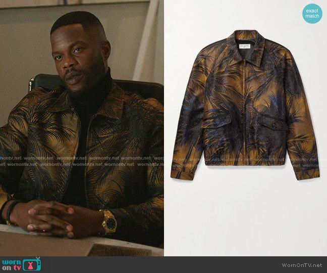 Slim-Fit Metallic Jacquard Bomber Jacket by Saint Laurent worn by Jeff Colby (Sam Adegoke) on Dynasty