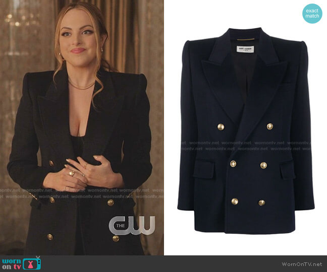 mbossed-Buttons Double-Breasted Blazer by Saint Laurent worn by Fallon Carrington (Elizabeth Gillies) on Dynasty
