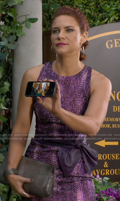 Sally's purple snake print dress on The Young and the Restless