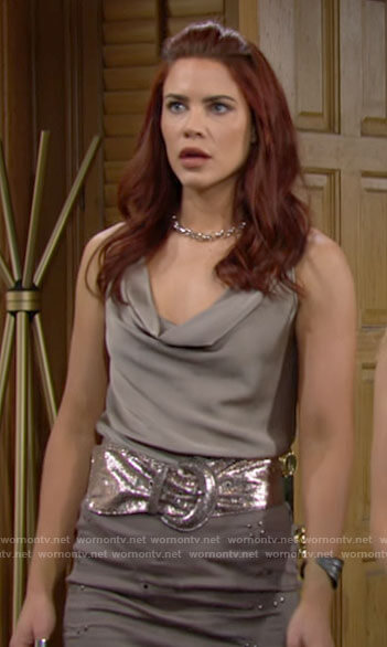 Sally's taupe cowl neck top on The Young and the Restless