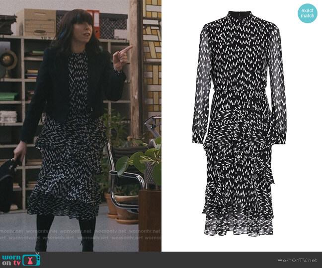 Isa Ruffled Silk Georgette Teardrop Print Dress by Saloni worn by Eileen Walsh on Modern Love