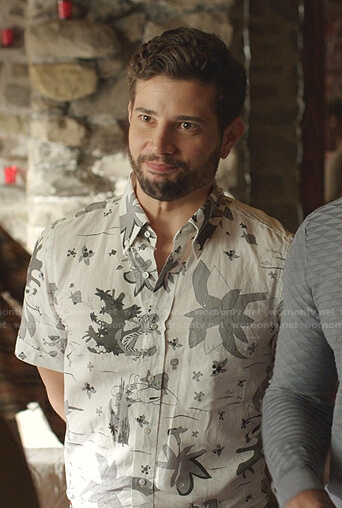 Sam's white printed short sleeve shirt on Dynasty
