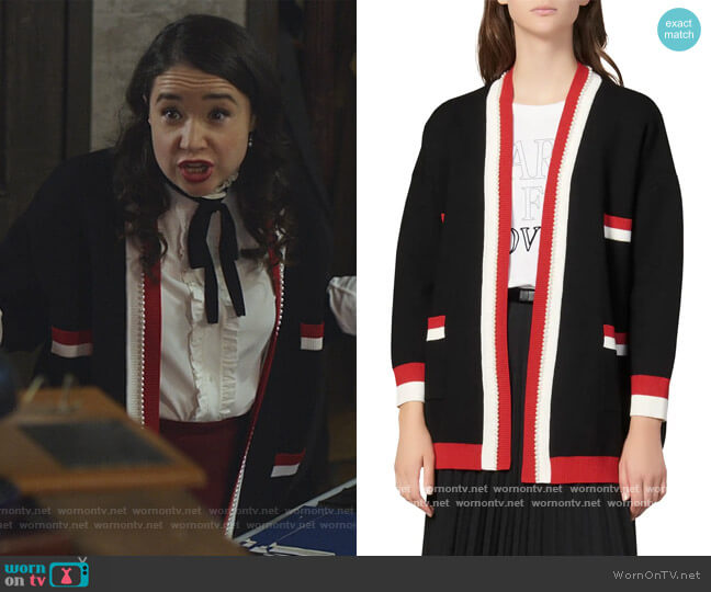 Dave Imitation Pearl Detail Cardigan Sweater by Sandro worn by Marissa Gold (Sarah Steele) on The Good Fight