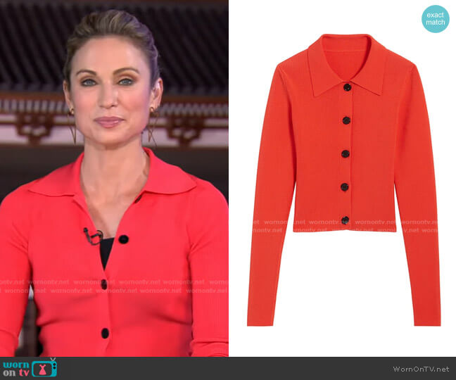 Francoise Cardigan by Sandro worn by Amy Robach  on Good Morning America
