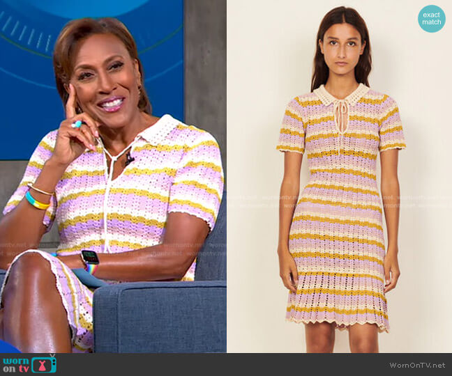 Multicoloured Crochet Polo Dress by Sandro worn by Robin Roberts  on Good Morning America