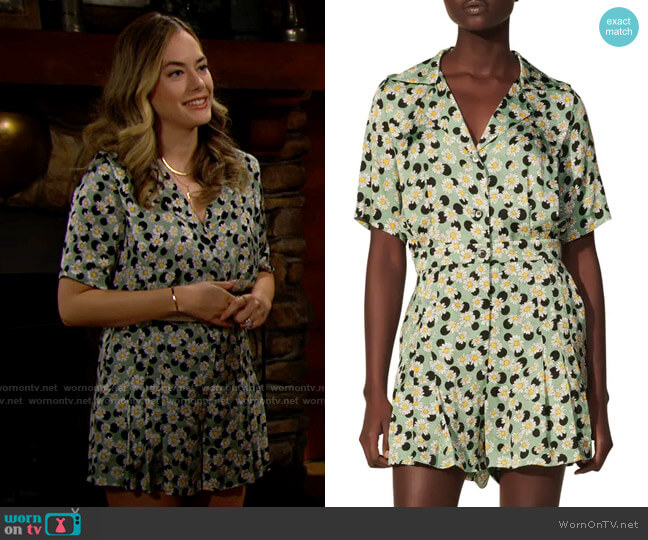 Sandro Daisy & Dot Print Short Sleeve Playsuit worn by Hope Logan (Annika Noelle) on The Bold & the Beautiful