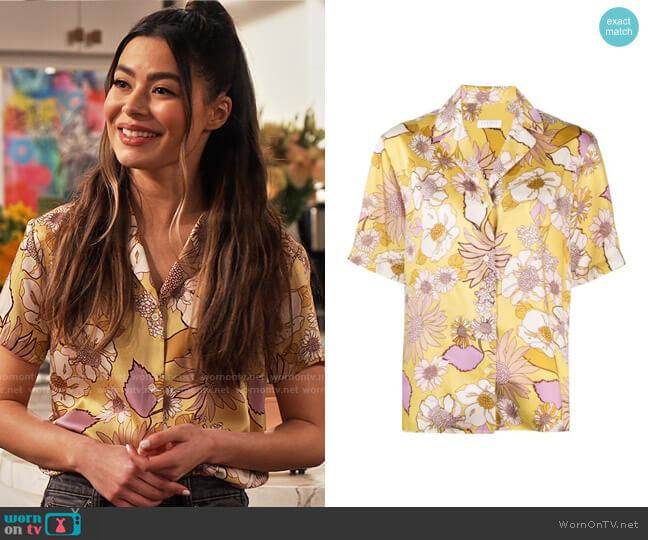 Sandro Printed pajama shirt worn by Carly Shay (Miranda Cosgrove) on iCarly