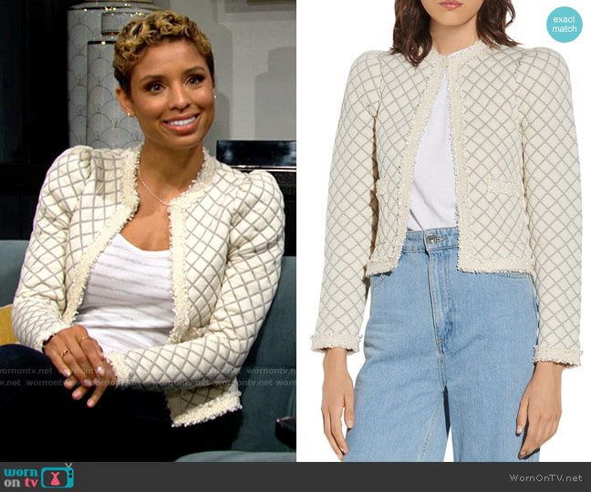 Sandro Hamy Quilted Cardigan worn by Elena Dawson (Brytni Sarpy) on The Young & the Restless