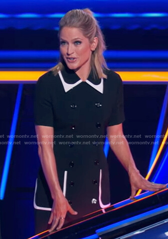 Sara's black double breasted collared dress on The Chase