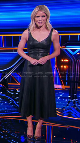 Sara's black belted leather dress on The Chase