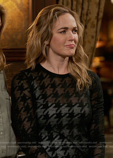 Sara's sheer black houndstooth top on Legends of Tomorrow