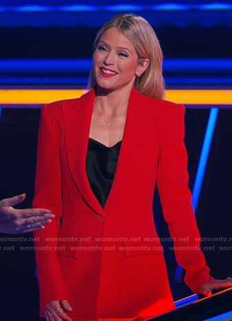 Sara's red blazer and flare pants on The Chase