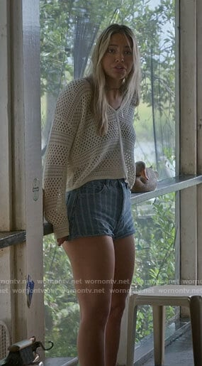 Sarah's eyelet sweater and striped denim shorts on Outer Banks