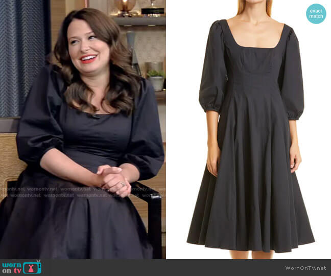 Swells Fit & Flare Midi Dress by Staud worn by Katie Lowes on Live with Kelly and Ryan