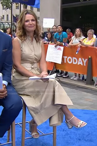 Savannah's beige sleeveless dress and white sandals on Today
