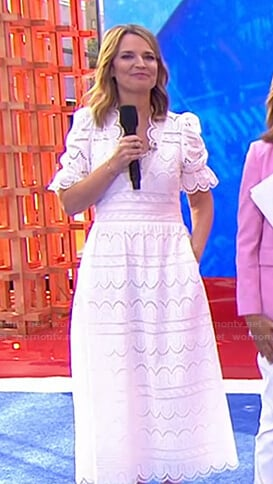 Savannah's white scalloped midi dress on Today