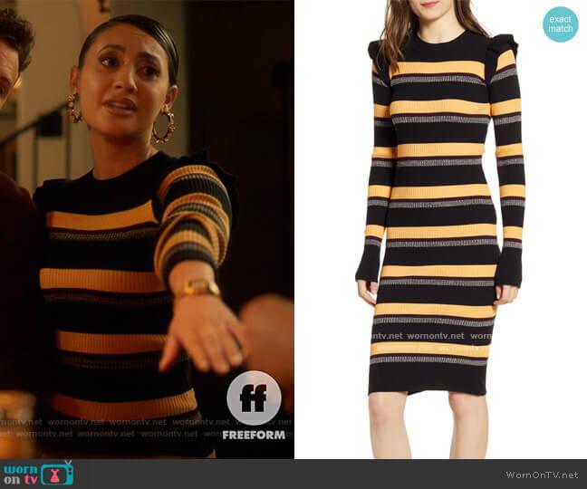 Stripe Rib Long Sleeve Dress by Scotch and Soda worn by Ana Torres (Francia Raisa) on Grown-ish