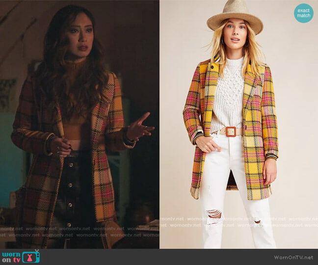 Ascot Plaid Coat by Scotch and Soda worn by Phoebe Miu on Riverdale