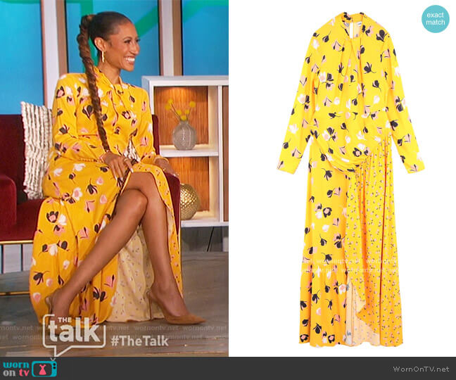 Floral Twist Neck Maxi Dress by Self Portrait worn by Elaine Welteroth  on The Talk