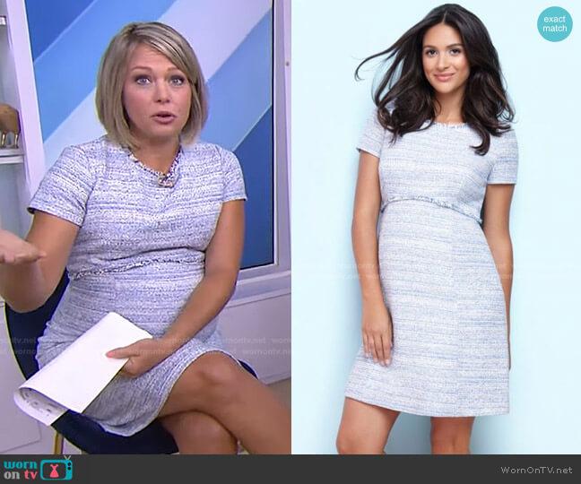 Sky Blue Bouclé Maternity Shift Dress by Seraphine worn by Dylan Dreyer  on Today
