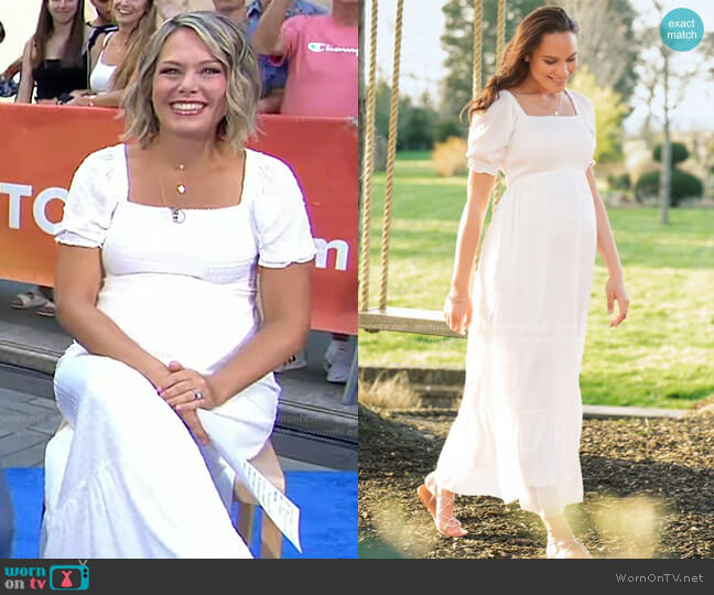 Shirred Maternity Maxi Dress by Seraphine worn by Dylan Dreyer  on Today