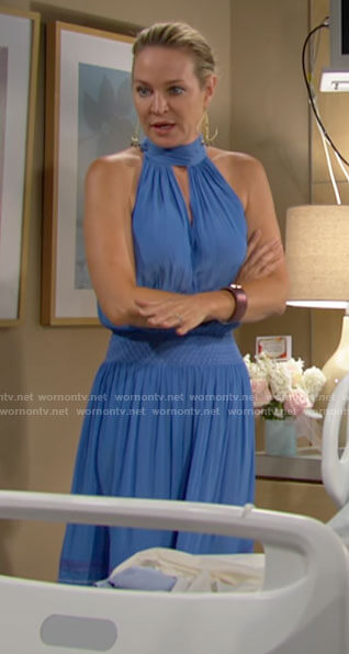 Sharon's blue sleeveless dress with keyhole cutout on The Young and the Restless
