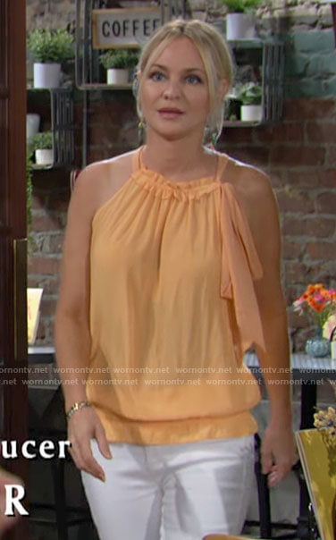 Sharon's orange neck tie top on The Young and the Restless