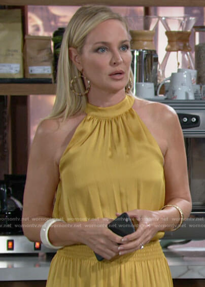 Sharon's yellow smocked waist dress on The Young and the Restless
