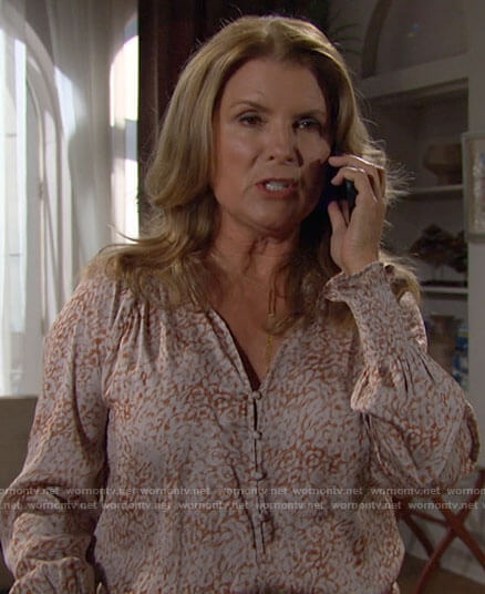 Sheila's leopard print blouse on The Bold and the Beautiful
