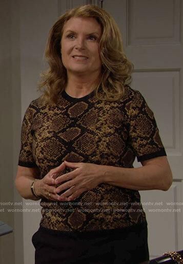 Sheila's snake print top on The Bold and the Beautiful