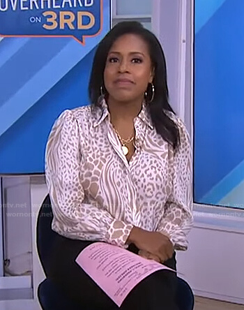 Sheinelle's white animal print blouse on Today