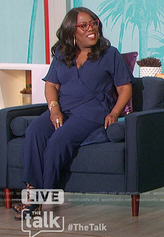 Sheryl's navy wrap top and pants on The Talk
