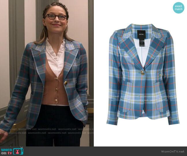 Smythe Tartan Print Blazer worn by Kara Danvers (Melissa Benoist) on Supergirl