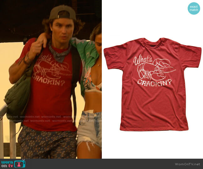 Solid Threads What's Crackin T-shirt worn by John B (Chase Stokes) on Outer Banks