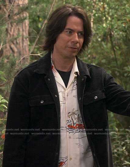 Spencer's palm print shirt and black corduroy jacket on iCarly