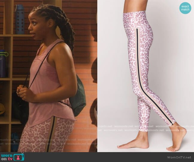Intent 7/8 High Waist Legging by Spiritual Gangster worn by Jazlyn Forster (Chloe Bailey) on Grown-ish