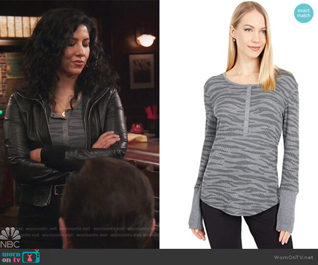 Zebra Forever Henley by Splendid worn by Rosa Diaz (Stephanie Beatriz) on Brooklyn Nine-Nine