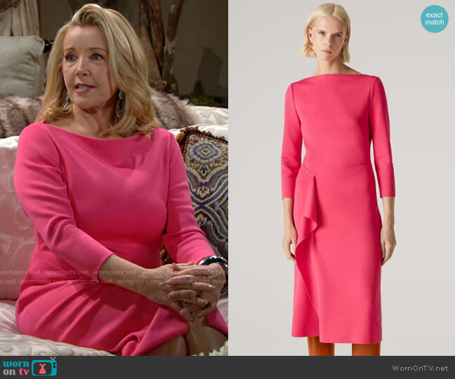 St John Milano Knit Wrap Detail Dress worn by Nikki Reed Newman (Melody Thomas-Scott) on The Young & the Restless
