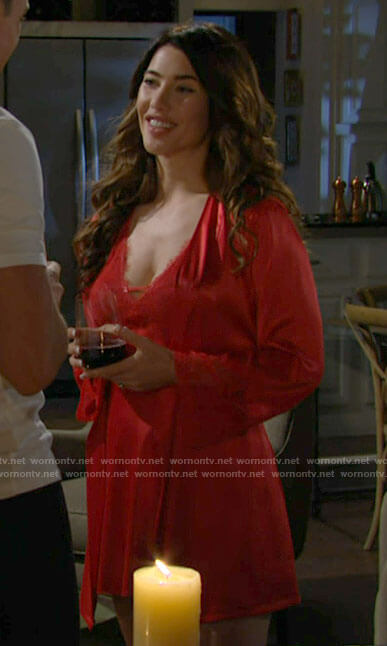 Steffy's red lace trim slip and robe on The Bold and the Beautiful