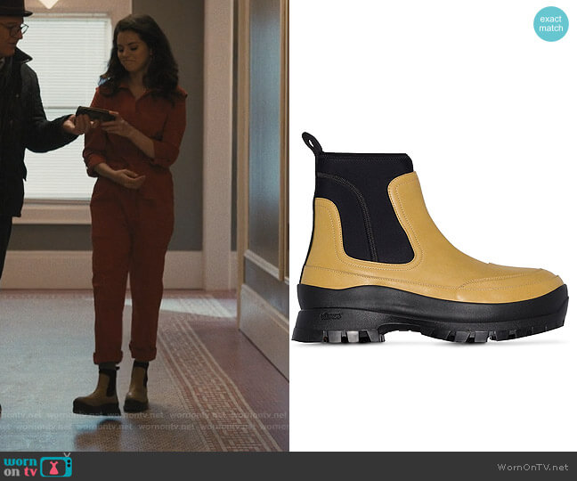 Utility boots by Stella McCartney worn by Mabel Mora (Selena Gomez) on Only Murders in the Building