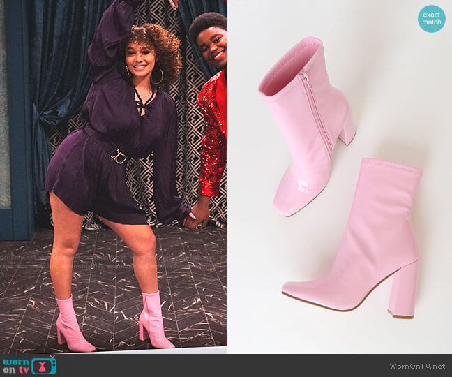 Fulton Pink Patent Square Toe Mid-Calf Boots by Steve Madden worn by Jade (Talia Jackson) on Family Reunion