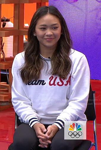 Suni Lee's white Team USA sweatshirt on Today